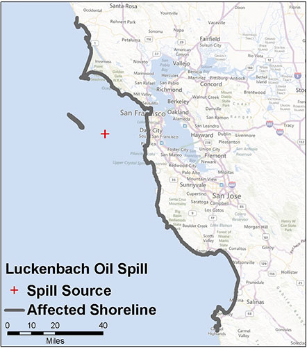 Graphic California map showing the locations of Stuyvesant spill