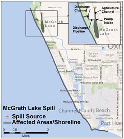Graphic California map showing the locations of McGrath spill