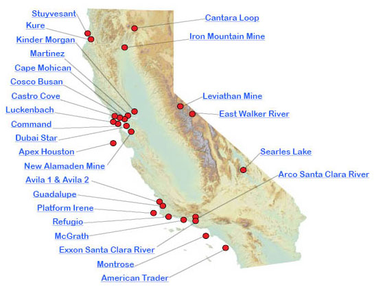 Graphic California map showing the locations of spills