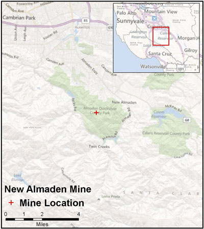 Graphic California map showing the locations of New Almaden Mine spill