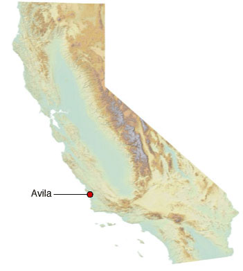 Graphic California map showing the locations of MV Kure spill
