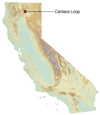 Graphic California map showing the locations of Cantara spill