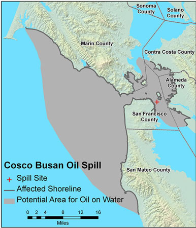 Graphic California map showing the locations of Cosco Busan spill