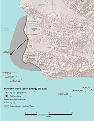 Graphic California map showing the locations of Platform Irene spill