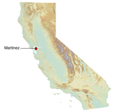 Graphic California map showing the locations of Martinez spill