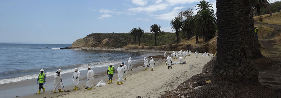 Cleanup crews at Refugio State Beach