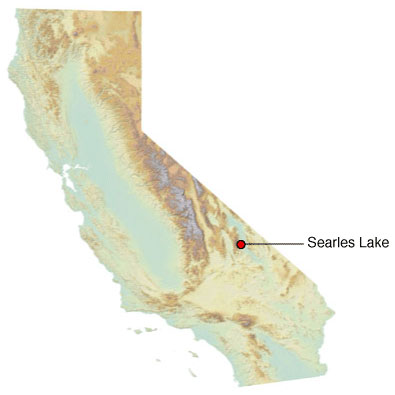 Graphic California map showing the locations of Searles spill