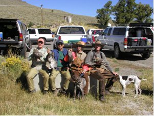 Successful sage grouse hunters in Long Valley