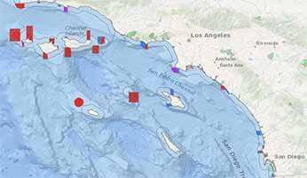 Current California Ocean Recreational Fishing Regulations - Map of southern us and mexico