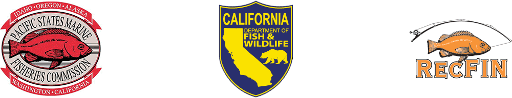 Pacific States Marine Fisheries Commission logo, CDFW logo, RecFIN logo