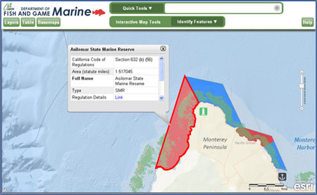 Screenshot of Marine & Coastal Map Viewer - link opens in new window